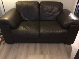 2 x 2 seater sofas and 1 chair chocolate brown leather