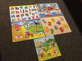 5 children's wooden puzzles