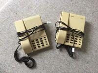 2 VINTAGE RETRO 1980S TELEPHONE, ASCOM BERKSHIRE HD, HANDSET, CORDED, BEIGE & BROWN, WORKING PHONES