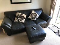 Leather Sofa(s) - 3 Seater, 2 Seater and Footstool