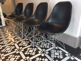 4 Black Eames Eiffel style chairs