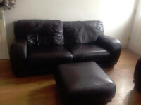 3 Seater & 2 Seater Leather Sofa with Foot Stool