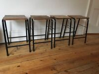 Lovely Old Metal Kitchen School Stools Vintage New Floorboard Seats 4 Available