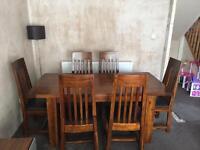 Solid dark wood Dfs extending table