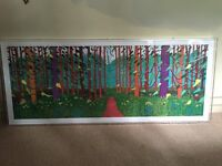 Very Large David Hockney A Bigger Picture poster framed in a perspex box frame 134cm x 54cm