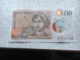 10pound note with serial 222786
