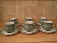 Denby Regency Green 6 x teacups and saucers