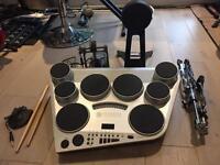 Yamaha DD65 + kp65 and yamaha kick pedal, snare stand and drum sticks