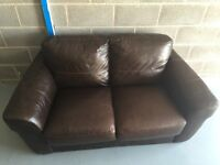 Two brown Italian leather, 2seater couches, £100 each. Plus NEXT fabric 2seater couch £80
