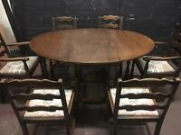 Lovely vintage oak dining suite with 6 ladder back chairs