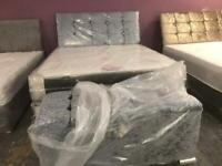 Quality king bed with mattress and ottoman