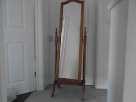 Pine full length mirror on stand