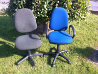 Computer Chairs x2, adjustable/swivel/castors, one with arm rests, ideal Business Off/ice/Home