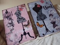 Two Paris Parisian style prints / hanging pictures. Shabby Chic