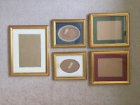 5 Picture Frames in gold