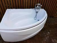 White Corner Bath with taps