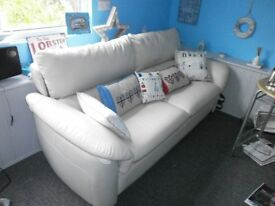 Cream leather 3-seat sofa