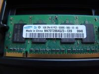 Laptop RAM, 2x1GB, PC2-5300S, 667MHz, for sale.