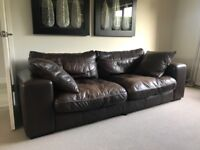 3 Seater Leather Sofa, Armchair and Swivel Chair