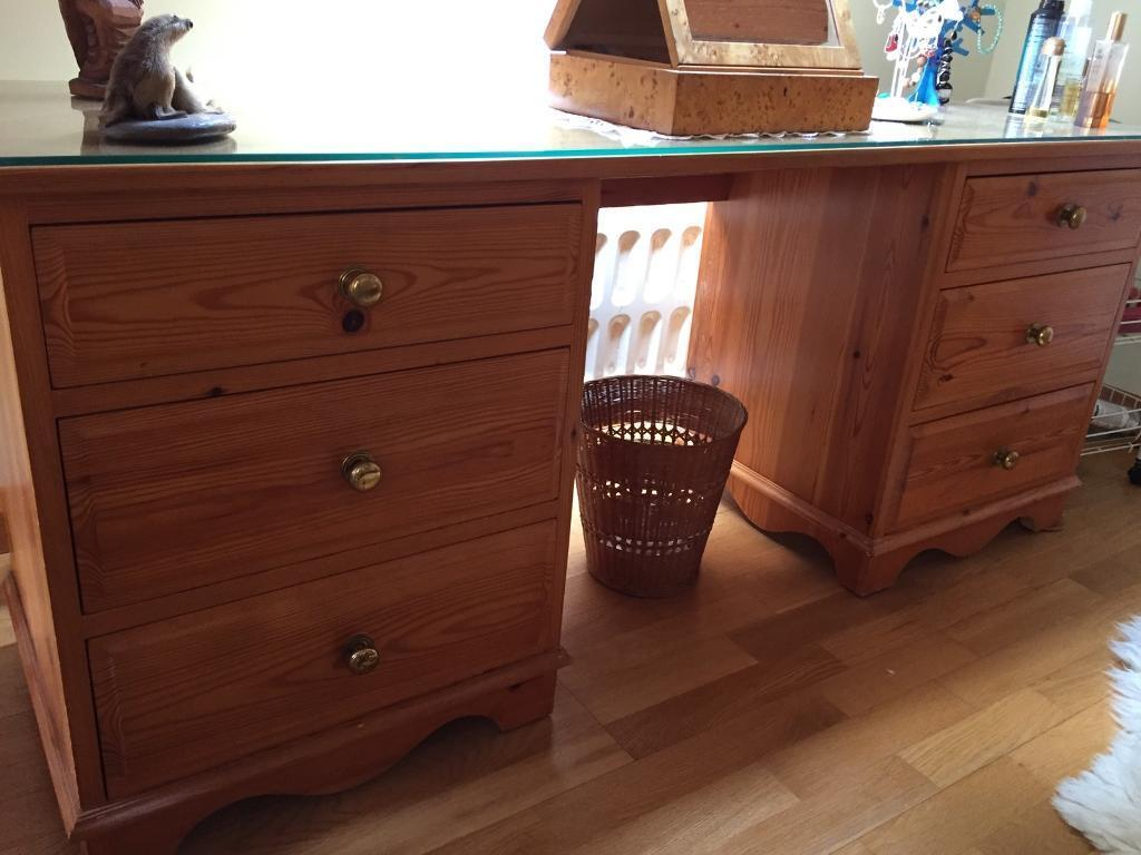 Glass top pine dressing table