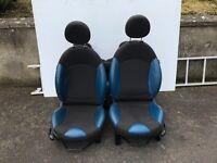 Blue Half Leather Mini Seats - R56 Mini One, Cooper, Cooper S