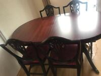 Dining Table and 6 Chairs along with corner cabinet