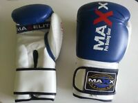 Maxx Blue/White boxing gloves Junior Adult sizes Rex leather 16oz