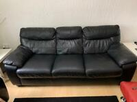 2 DFS 3 seaters and 2 seaters black thick leather excellent condition