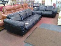 Large Black Leather suite (3+2)
