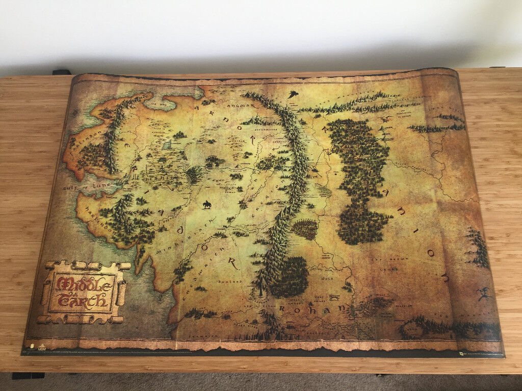 Poster map of Middle Earth – The Hobbit and The Lord of the Rings on