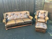 Brown Leather Suite ( Can Deliver )