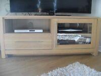 Oak effect TV unit and matching 2 door, 3 drawer oak effect sideboard