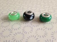 Sterling silver green murano glass lampwork charms