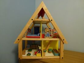 Wooden Doll's House - brand new with furniture and 4 dolls (from Nok on Wood)