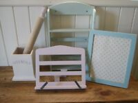 Kitchen items. Shabby chic pastel colours. Bundle of 5 items.Storage,book stand,frame etc.