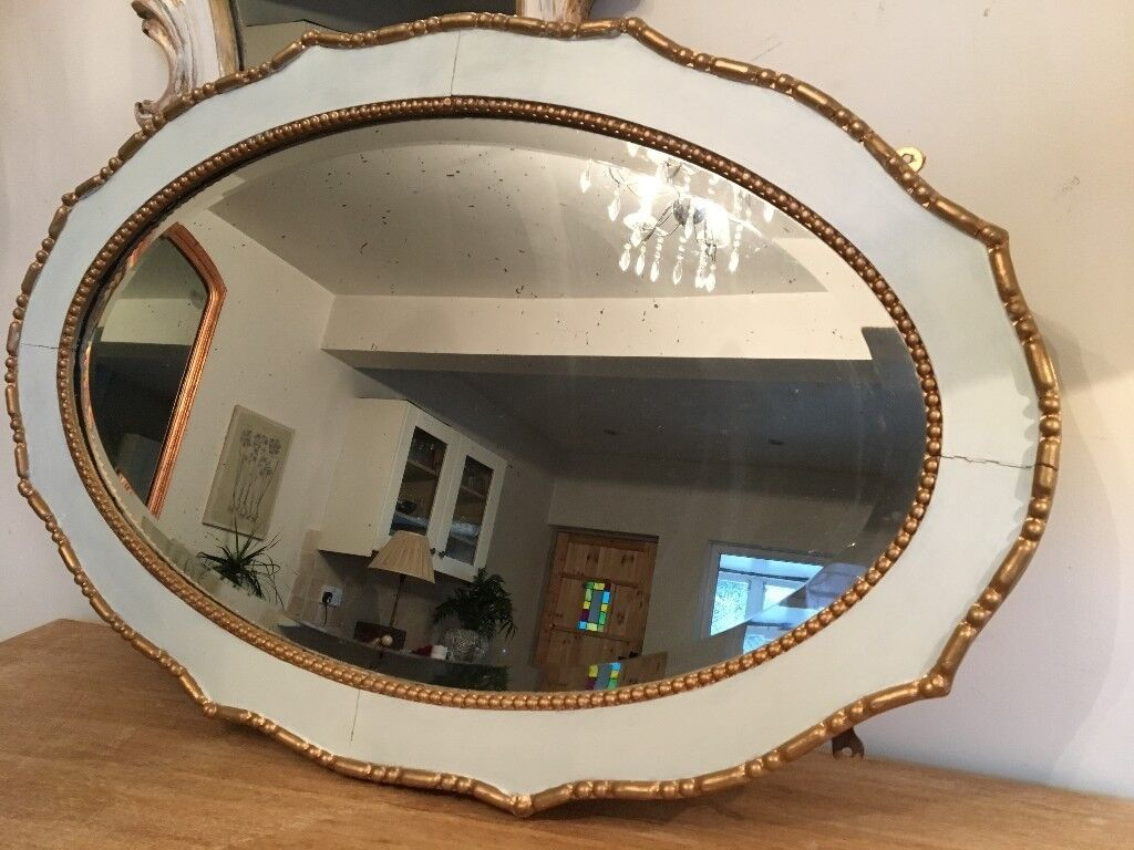 Vintage Oak Heavy Oval Beveled Mirror White And Gold Frame