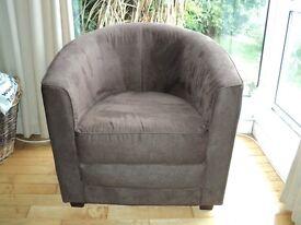 Tub chair. Mink colour micro fibre chair. RRP £90+