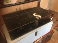 VINTAGE BLACK WOODEN TOOL BOX/CHEST - CAN DELIVER