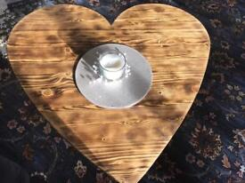Lovely wooden heart shaped coffee table