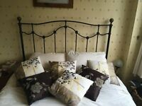 King Size wrought iron metal bed frame with wooden slats, lovely design - excellent condition