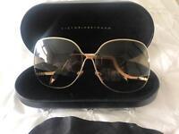 Victoria Beckham Square Wave Gold finish sunglasses