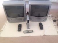2 x 14 inch Analogue TVs complete with built in VCRs and one Freeview Box