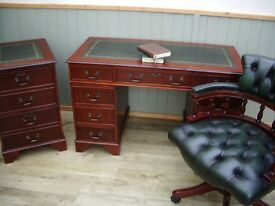 Stunning Green Leather Inlay Desk, Filing Cabinet and Chesterfield Captains Chair
