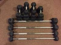 Dumbbell Barbell Set Weights Hex Weights