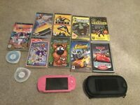 Sony Pink PSP and selection of games.