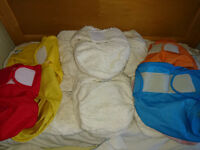 15 x new bamboo little lamb nappies, fleecy liners and wraps.