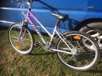 Ladies mounting bike