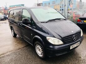 MERCEDES VITO LEFT HAND DRIVE 2.1 CDI LONG DIESEL MANUAL 5 LEATHER SEATER PANEL VAN BLACK 2007
