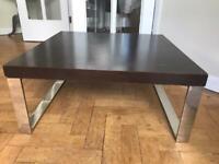 Contemporary Coffee Table Dark wood silver steel legs