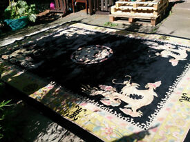 Very Large 9ft x 12ft Chinese Imperial Dragon Wool Rug
